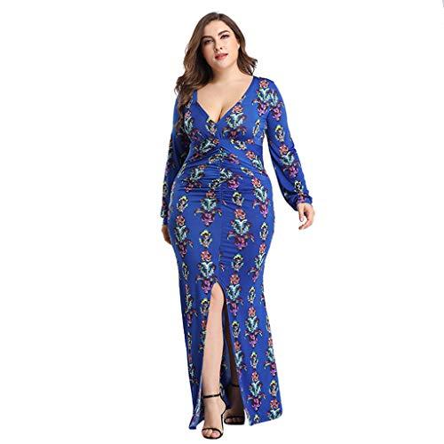 Transer- Deep V Neck Vintage Dress Long Sleeve Floral Print Bandage Front Split Long Party Maxi Dresses