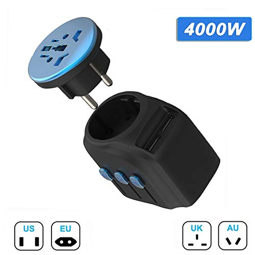 Universal Travel Adapter 4000W 2019NEWEST Outlet Converter Self-Healing Fuse Phone Charger Worldwide US UK AU EU High-Power Travel Adaptor for Hair Drier Straightener Curling Iron, NO Convert Voltage