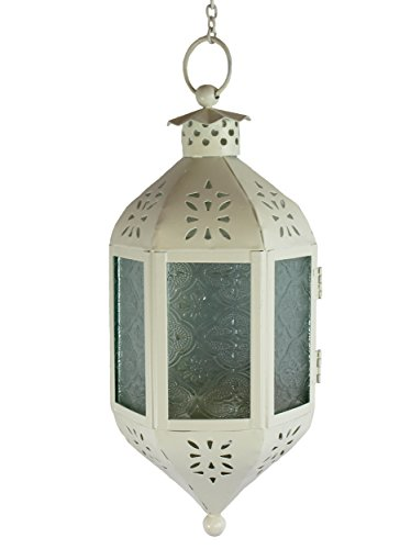Cream Hanging Moroccan Candle Lantern with Chain