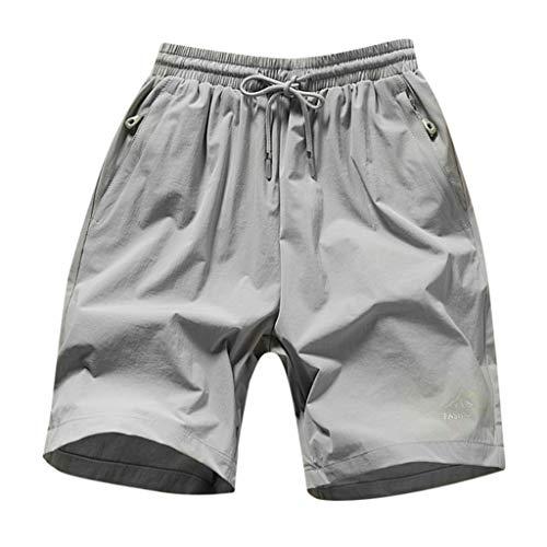 Shorts for Men ZEFOTIM 2019 Spring Summer Print Trunks Quick Dry Beach Surfing Running Short Pant(Gray,Large)