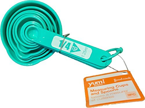 Bradshaw 9 Pc. Measuring Cups & Spoons Set All On One Ring Dishwasher Safe Green (Blue)