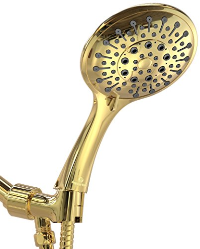 Aquarius Handheld Shower Head - Luxury Spa Grade High Pressure Hand Held Showerhead With 6 Spray Settings – Includes Flexible extra long Hose & Adjustable Mount Holder (Polished Brass (Brass Handheld)