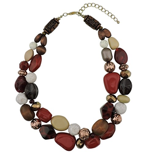 Bocar 2 Layer Statement Chunky Beaded Fashion Necklace for Women Gifts (NK-10384-wine)