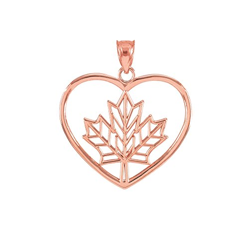 10k Rose Gold Filigree Canadian Maple Leaf Open Heart Charm Pendant