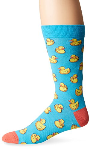 K. Bell Socks Men's Rubber Ducks Crew, Blue, Sock Size: 10-13/Shoe Size:9-11