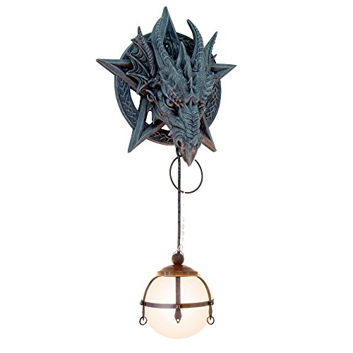 Ebros Large Wiccan Dungeon Chained Pentagram Dragon Sculptural Wall Lamp with Drop Down LED Light Orb Fantasy Gothic Wall Plaque Decor