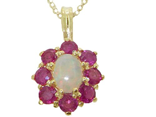 Womens Solid Yellow 10K Gold Natural Fiery Opal and Ruby Cluster Pendant Necklace