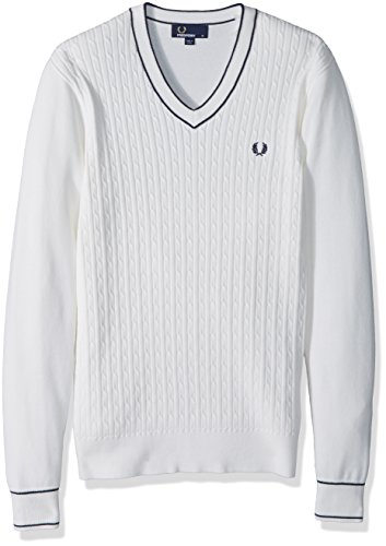 (Fred Perry Men's Cable Knit V-Neck Jumper, Snow White, X-Large )