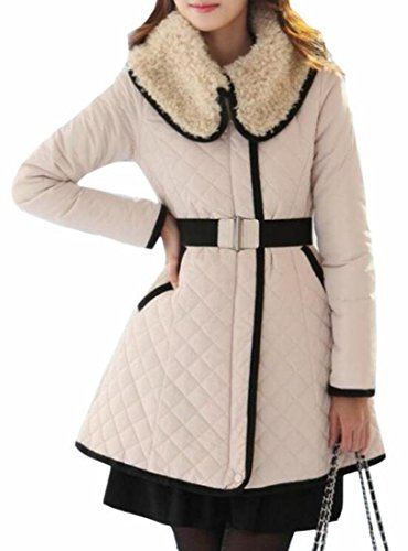 Lapel Faux Long Down UK 1 Belted Coat Warm Jacket Hot Quilted Sale Women Fur xzXvqx0fw