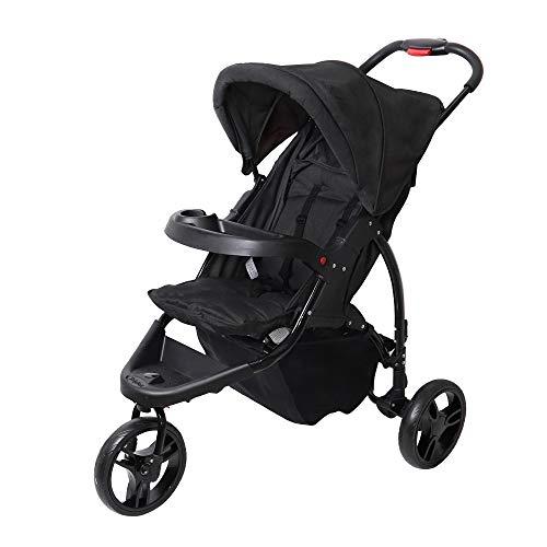 SpringBuds Baby Jogger City Tour Single Stroller Shock-Resistant 360 Ultralight Jogging Pushchair (Ink Black)