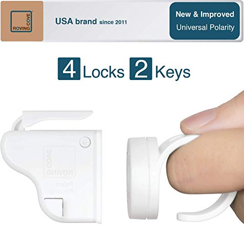 Roving Cove | Baby Proofing Magnetic Cabinet Locks | Child Safety Cabinet Drawer Cupboard Latch | Kitchen Baby Proof | Adhesive | Magnet | Safe Lock | New: Universal Polarity | 4 Locks + 2 Ring Keys