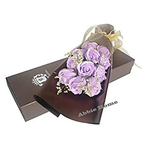 Abbie Home 11pcs Scented Rose Bouquet Decorating Soap Flower Creative Gift W/Box for Valentine's Day Mother's Day-Light Purple 116