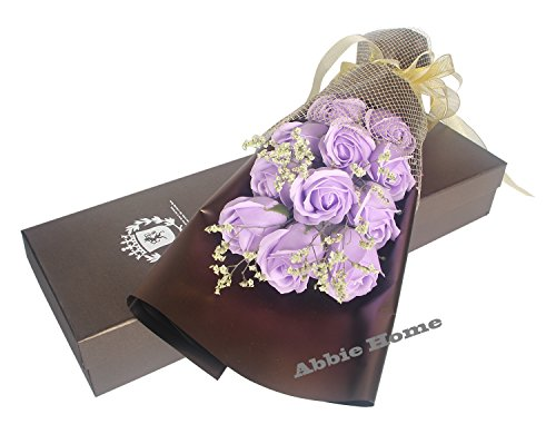 Abbie Home 11pcs Scented Rose Bouquet Decorating Soap Flower Creative Gift W/Box for Valentine's Day Mother's Day-Light Purple