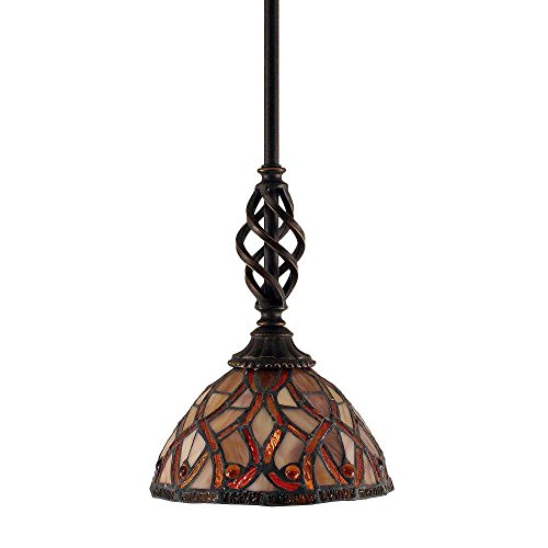 Toltec Lighting 80-DG-9915 Elegante Mini Pendant with Hang Straight Swivel with 7″ Persian Nites Tiffany Glass, Dark Granite Finish