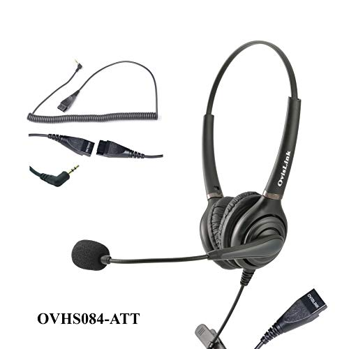OvisLink Binaural Corded AT&T Phone Headset   2.5mm Headset with microphonen for Call Center   Noise Canceling Microphone   Over-The-Head Style   2.5mm Quick Disconnect Cord Included