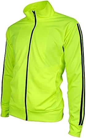 Angel Cola Men's Retro Stripes Full Zip-up Track Top Jacket Fluorescent Green 2XS