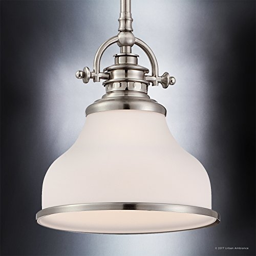 Luxury Industrial Pendant Light, Small Size: 9.5''H x 8''W, with Americana Style Elements, Nostalgic Design, Pretty Brushed Nickel Finish and Opal Etched Glass, UQL2336 by Urban Ambiance by Urban Ambiance (Image #3)