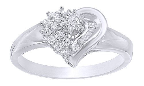 AFFY Baguette & Round Natural Diamond Heart Promise Ring in 10K Solid Gold (0.2 (0.2 Ct Baguette)