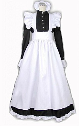 British Black White Dress Long Maid Outfit Cosplay Costume Customization M