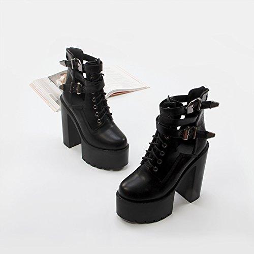 Winter Boots Alto Good Con Agecc Grueso Black Ladies Para Corto 39 Muffin 37 Hueco Botas De Womens Ti Impermeables Zapatos Luck Martin Tacón 0wAZE