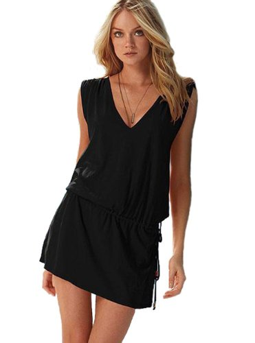 Ensasa Women Deep V Neck Open-back Beach Cover Up Beach Skirt, Black Large