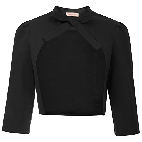 - Women's 3/4 Sleeve Open Front Basic Cropped Bolero Cardigans Cotton Solid Black Size L BP750-1