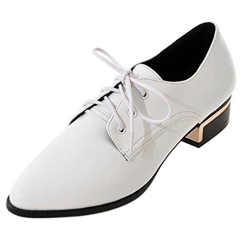 TAOFFEN de mujer blancos cordones con Zapatos qwtIEE