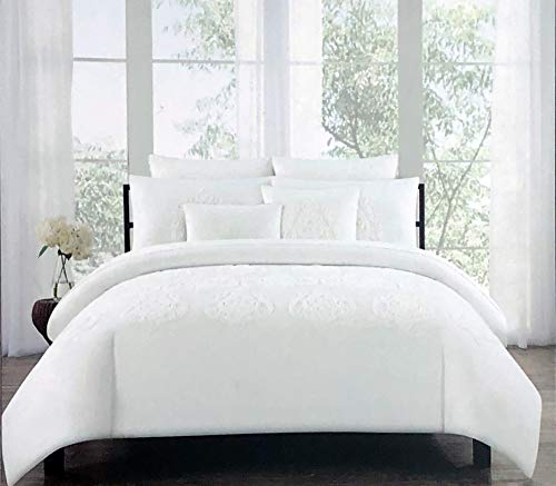 Tahari Home Maison Bedding 3 Piece King Size Luxury Cotton 3 Piece Duvet Comforter Cover Shams Set Solid White with Embroidered Textured Cream/Off-White Medallions