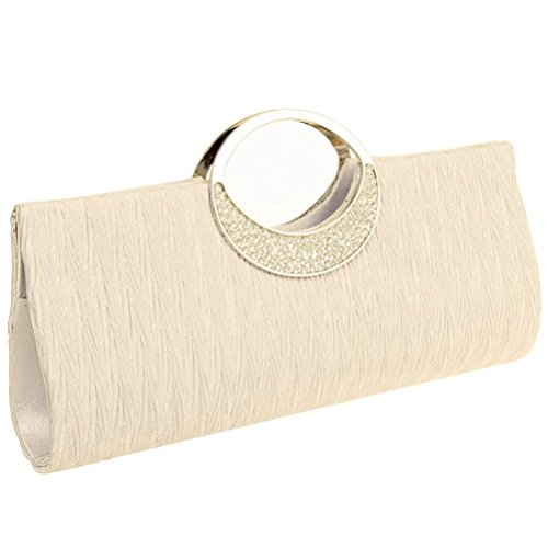FASHIONROAD Fashion Road Womens Luxury Evening Wedding Party Purse Clutch Rhinestone Satin Pleated Handbag Wallet Apricot
