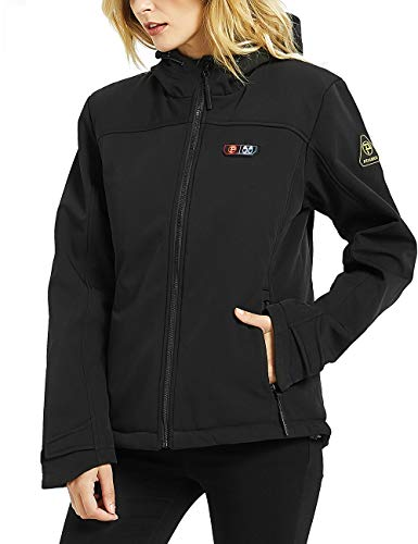 Ptahdus Women's Heated Jacket Soft Shell with Hand Warmer, with 7.4V Battery Pack(L) Black