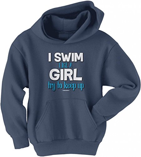 Threadrock Big Girls' I Swim like a Girl Try to Keep Up Youth Hoodie Sweatshirt L - Apparel Olympic Swimming