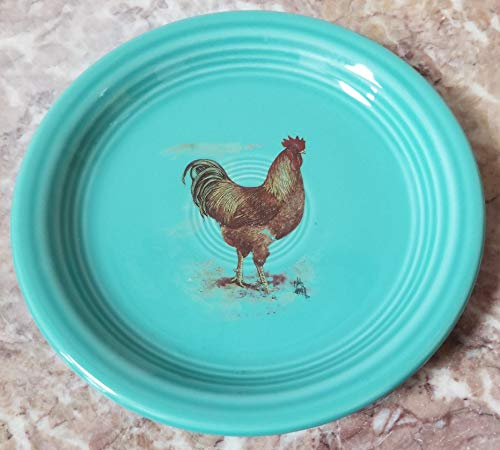 Fiestaware Appetizer Plate - w/Chicken NewHampshire Red Rooster - Turquoise - Homer Laughlin China Co. Fiesta