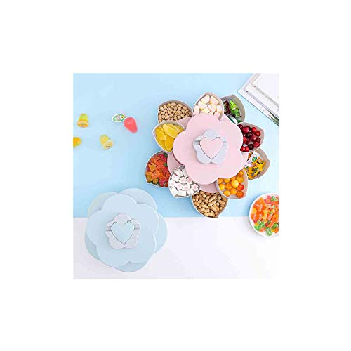 Luonita 2 Layers Lazy Suzan,Bloom Rotating Snack Box Flower Design Candy Food Storage Box Jewelry Organizer Snack Tray Family Snacks Partition Manager Box Party Wedding Candy Tray ()