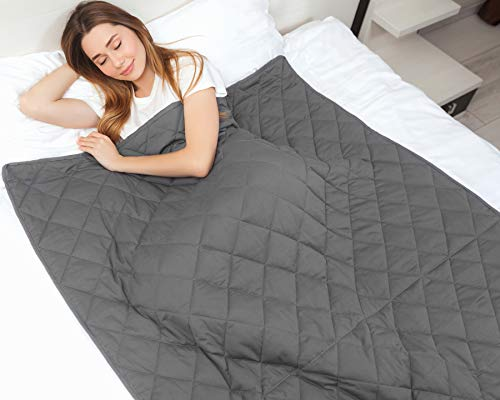 Cheap IkovA Weighted Blanket for Adult & Kids - Queen Size 60 x80 15 lbs Grey - 100% Breathable Cotton with Non-Toxic Glass Beads Black Friday & Cyber Monday 2019