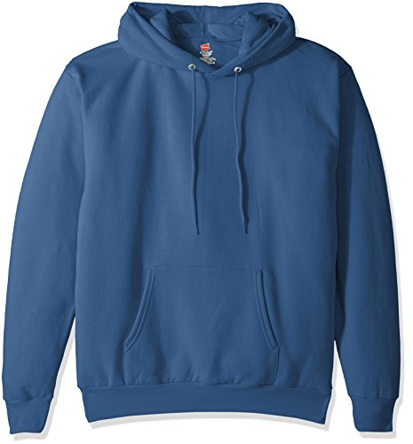 Hanes Men's Pullover EcoSmart Fleece Hooded Sweatshirt, Denim Blue, X Large
