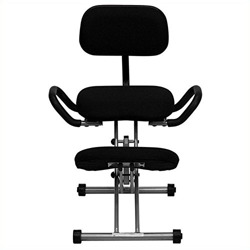 Flash Furniture WL-3439-GG Ergonomic Kneeling Chair in Black Fabric with Back and (Black Fabric Kneeling Chair)