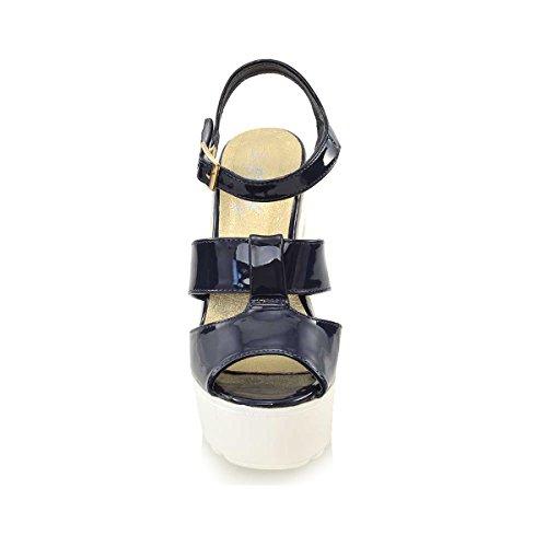 3 Sandaalit Alustan Korkokenkiä Paksu Naisten Glam Leikattu Essex Kengät 8 Laivasto Naisten Nro Kuvioitu Patenttia qTP8B