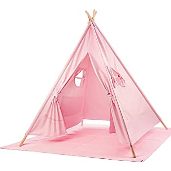 BATTOP Kids Teepee Tent Cotton Canvas Two Window Classic Style (Pure Pink)