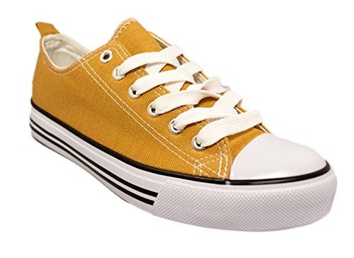 Women's Casual Canvas Shoes Solid Colors Low Top Lace Up Flat Fashion Sneakers (7, Cognac) (Cheap 80s Dresses)