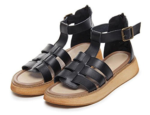 La Sra zapatos de plataforma sandalias de verano pendiente con la punta abierta sandalias planas casuales las mujeres Black