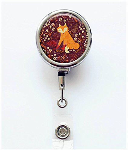 RhyNSky Rainbow Animal Fox Pattern Retractable Badge Holder Reel Clip with Alligator Clip for Name Tag ID Card Keys, Silvery, C1357 ()
