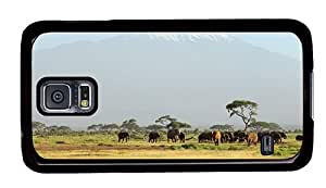 Hipster cool Samsung Galaxy S5 Cases herd of elephants PC Black for Samsung S5