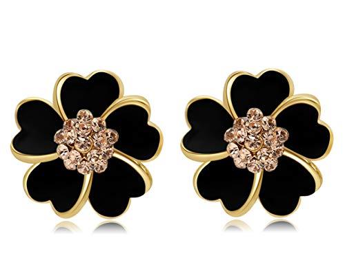 Gold Plated Enameled Black/White Blooming Cherry Blossom Flower Stud Earrings (Black)