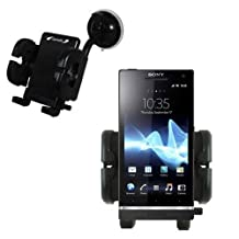 Gomadic Brand Flexible Car Auto Windshield Holder Mount for the Sony Ericsson Xperia ion - Gooseneck Suction Cup Style Cradle