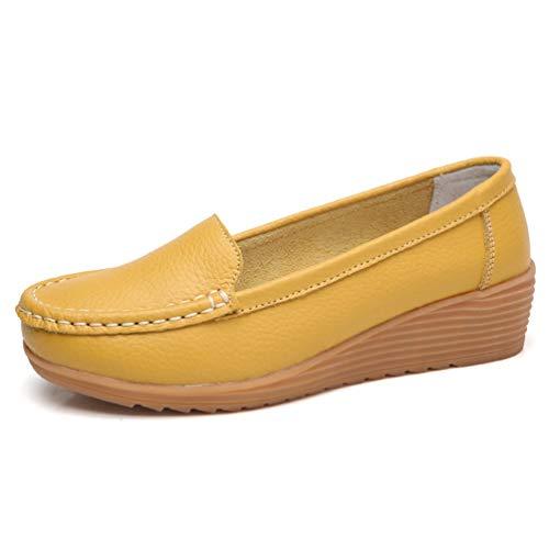 Primavera En Punta Mujeres Mujer Mocasines De Bailarinas CuñAs Amarillo De Deslizamiento Mocasines Redonda OtoñO Zapatos Cuero Mocasines qT0Cd0