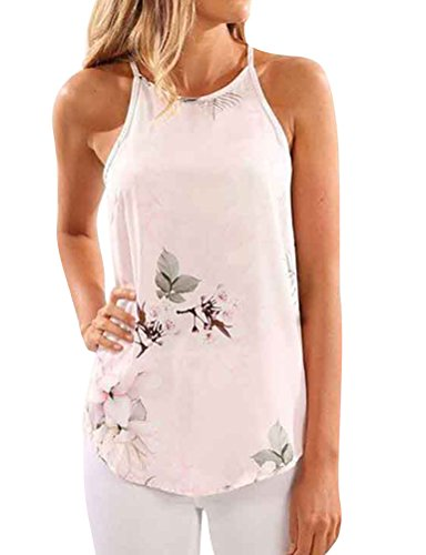 (WLLW Women Crew Neck Sleeveless Floral Print Shirt Tops Tee Tanks Camis (XL, Light Pink))