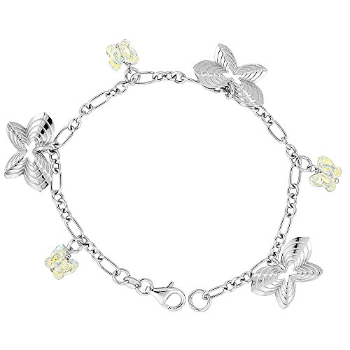Sterling Silver Butterfly Yellow Swarovski Crystals 7 in. Oval Link Charm - Stone Oval Charm Italian