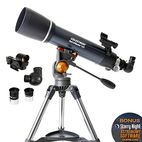 Celestron - AstroMaster 102AZ Refractor Telescope - Refractor Telescope for Beginners - Fully-Coated Glass Optics - Adjustable-Height Tripod - Bonus Astronomy Software Package