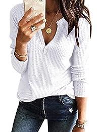 Womens V Neck Shirts Long Sleeve Waffle Knit Loose Fitting Warm Tee Tops