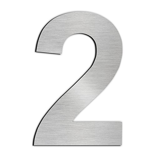 Brushed House Number 2 Two-15.3cm 6in-made of solid 304 Stainless Steel, Floating Appearance, Easy to install ()